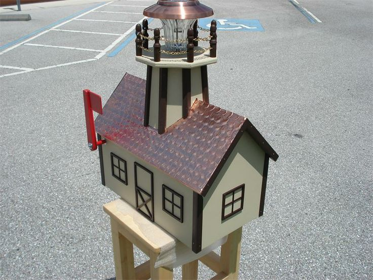 Amish Made Wooden Lighthouse Mailbox Copper Roof