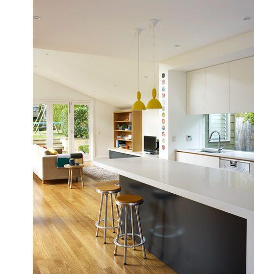 White Kitchen Yellow Splashback