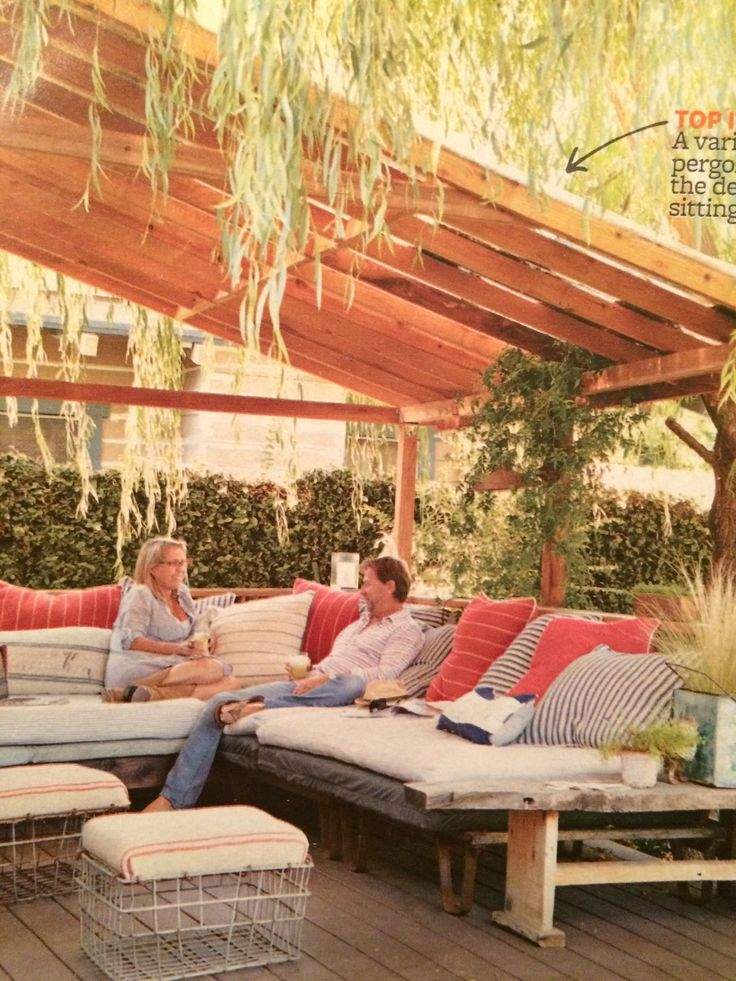 Slanted Roof Slat Pergola Via Better Homes And Gardens