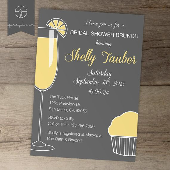 Bridal Shower Invitations Grey And Yellow