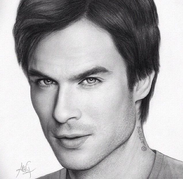 Diaries Damon Drawings Vampire Pencil