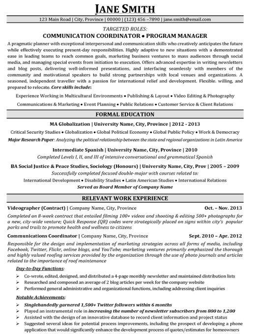 Coordinator Cover Samples Communication Letter