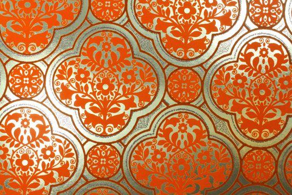 1970 S Vintage Wallpaper Gold Foil Background With Orange
