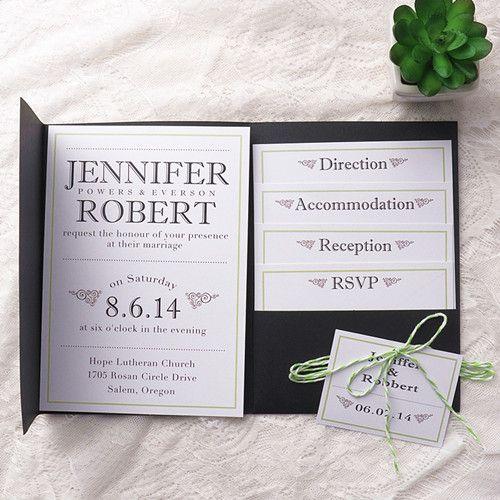 Cheap Pocket Wedding Invitation Kits