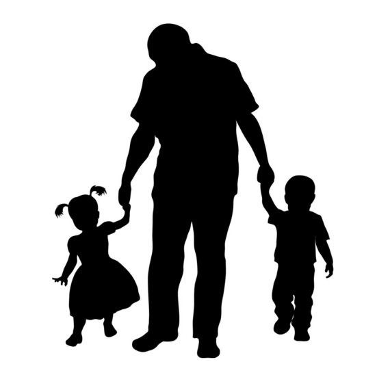 Family Shadow Together Sitting