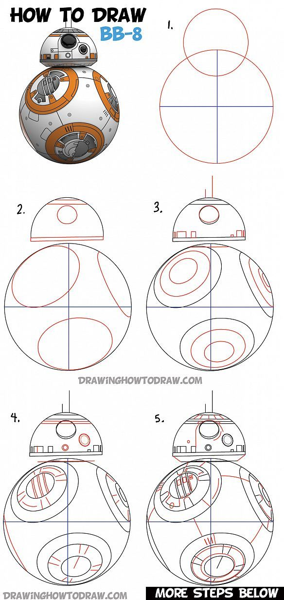 How to Draw BB-8 (Beeby-Ate) the Ball Droid from Star Wars ...