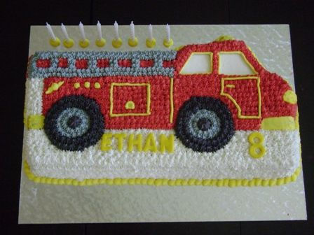 Novelty Tin Fire Truck Cake With Butter Icing Car Truck