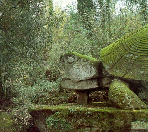 Giant Moss Covered Stone Turtle In Sacro Bosco Garden
