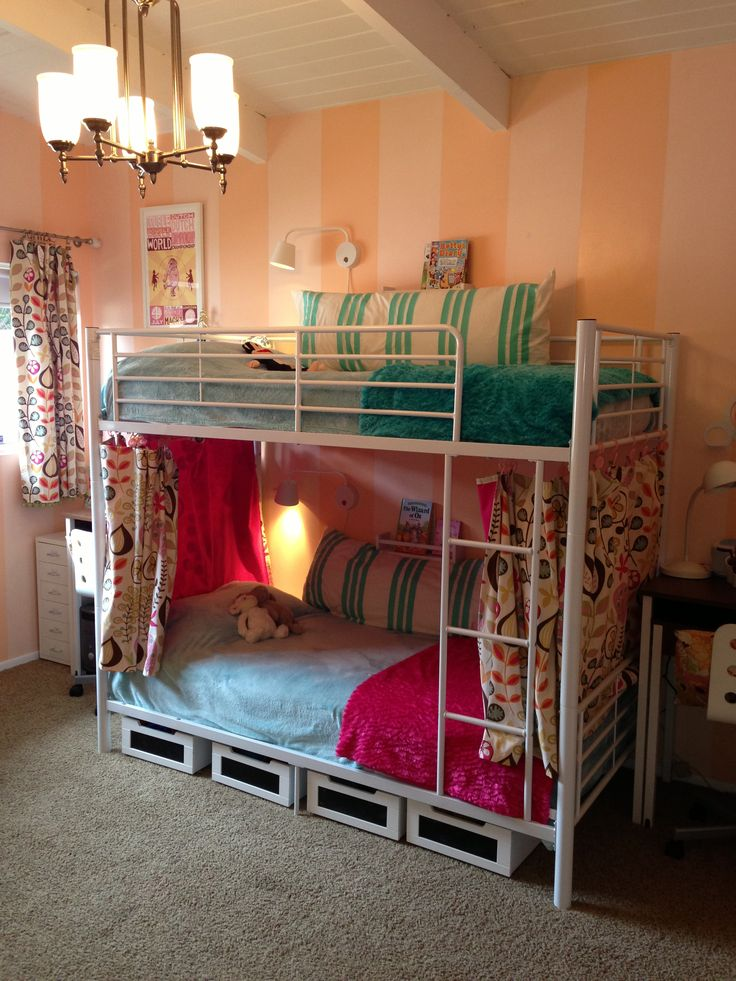White Bunk Beds Reading Lamps And Ikea Spice Rack On