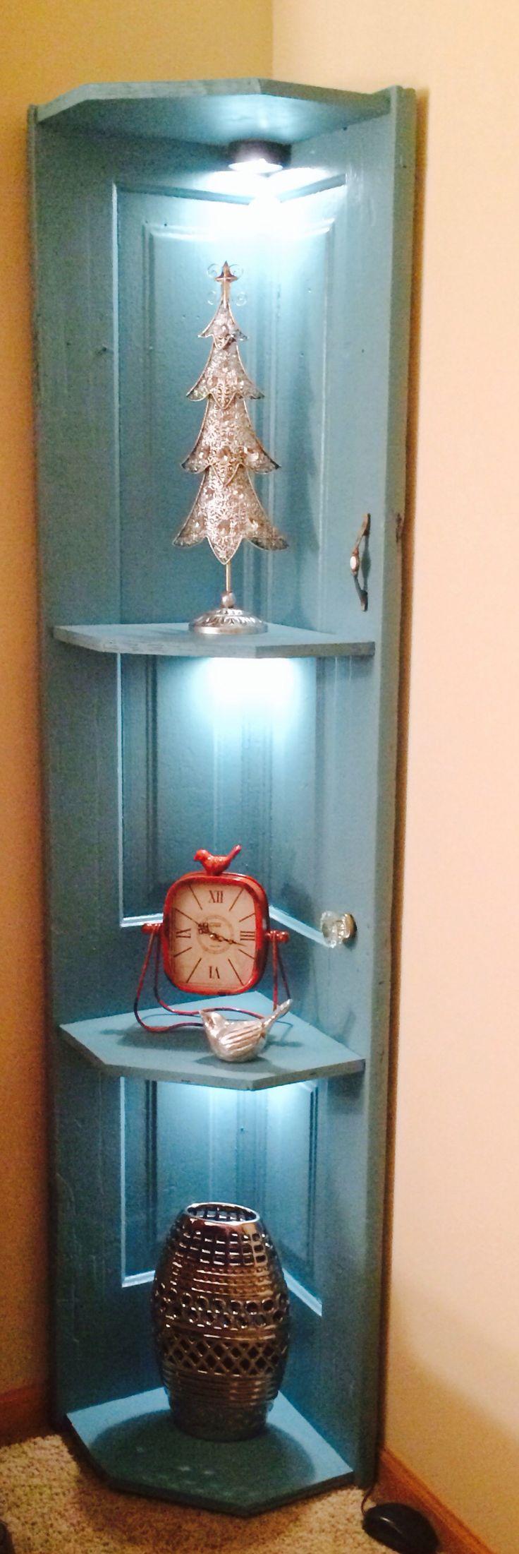 Corner Shelf W Lighting Made From An Old Door Doors