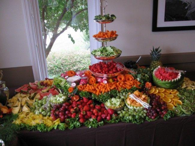 Tiered Vegetable Display Wedding Reception