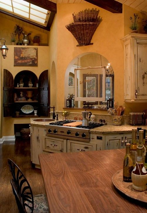 French Country Kitchen Warm Colors Copper Sink With Dark