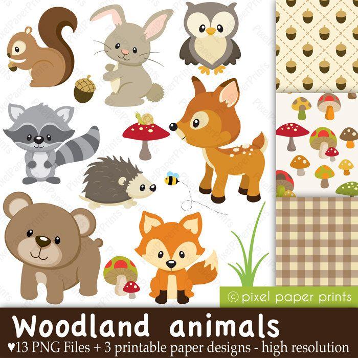 Woodland Animals - Clip art and Digital paper set ...