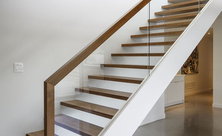 Glass Wood Railing At Open Stair Treads Dunrobin | Wood And Glass Handrail