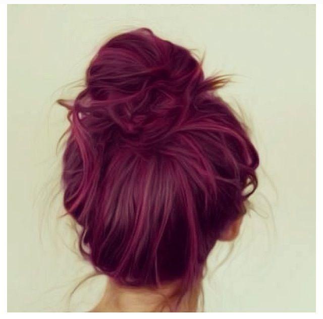 Plum Hair #plum #purple #bun #hair | Hair | Pinterest ...