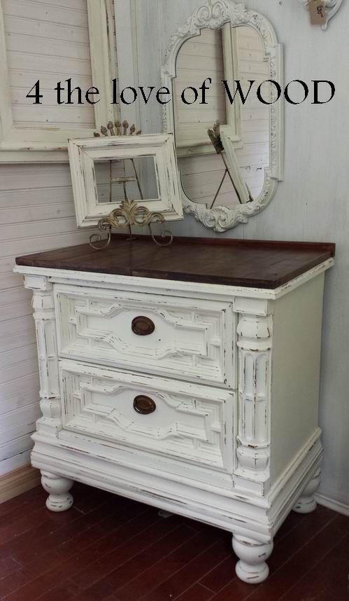 Dark Wood And White Dresser