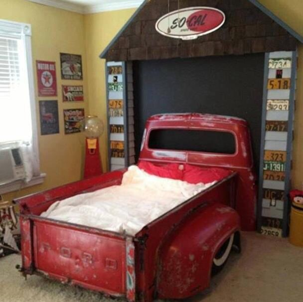 Truck Bed made from real trucks. Vintage car, room. | For ...