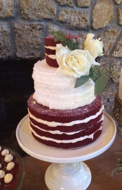 Red Velvet Half Naked Wedding Cake Naked Cake Vintage