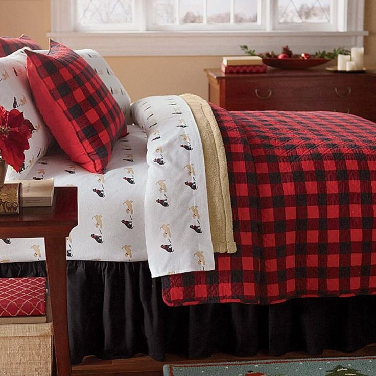 Western Red Buffalo Check Plaid Quilt Set Bedding