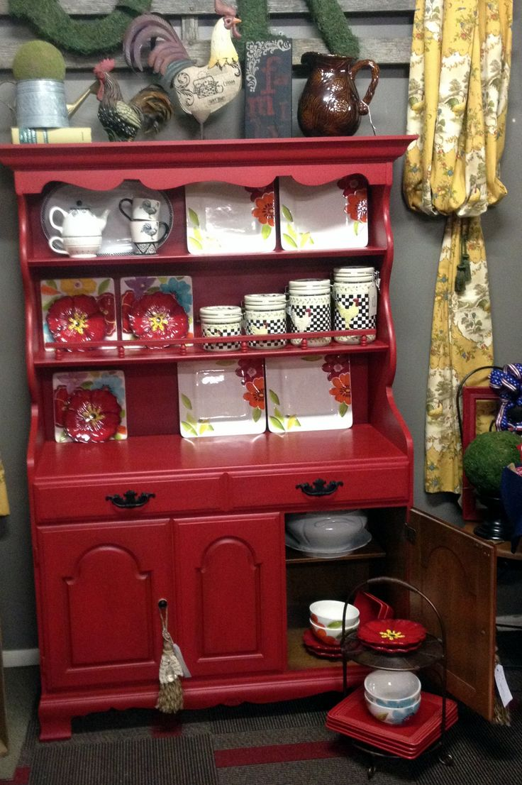 Crawford Furniture Maple China Hutch Chalk Painted Red And