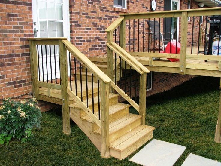 Acq Pressure Treat Pine Wood Deck Steps With Deckorators   Pressure Treated Stair Railing