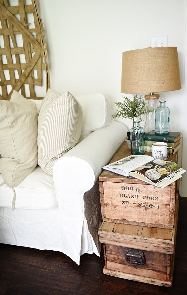 Lovely Neutral Cottage Style Living Room Stacked Trunk