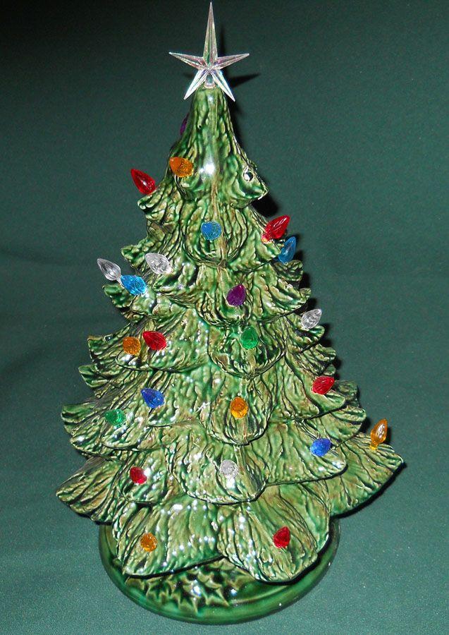 Musical Ceramic Christmas Tree White Blue Bulbs