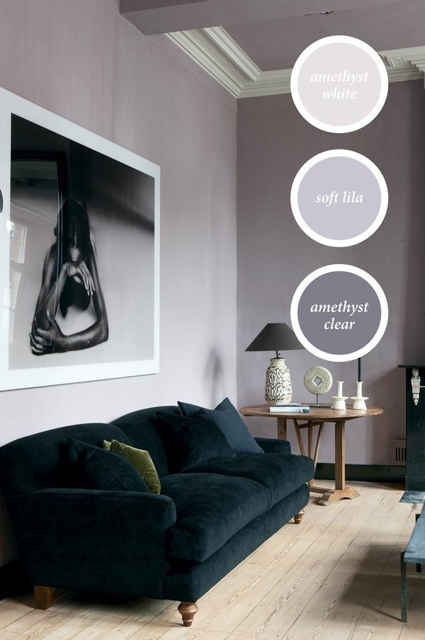Deep Purple And Grey Bedroom