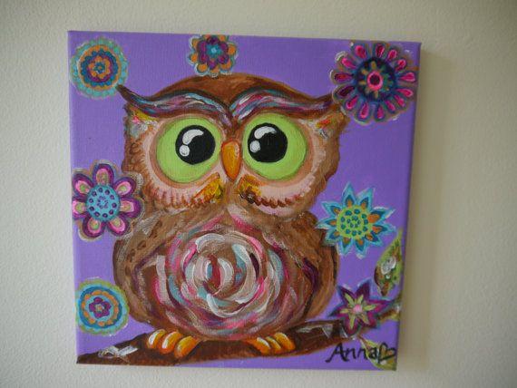 Purple Owl Surrounded By Flowers Kids Bedroom Or Nursery