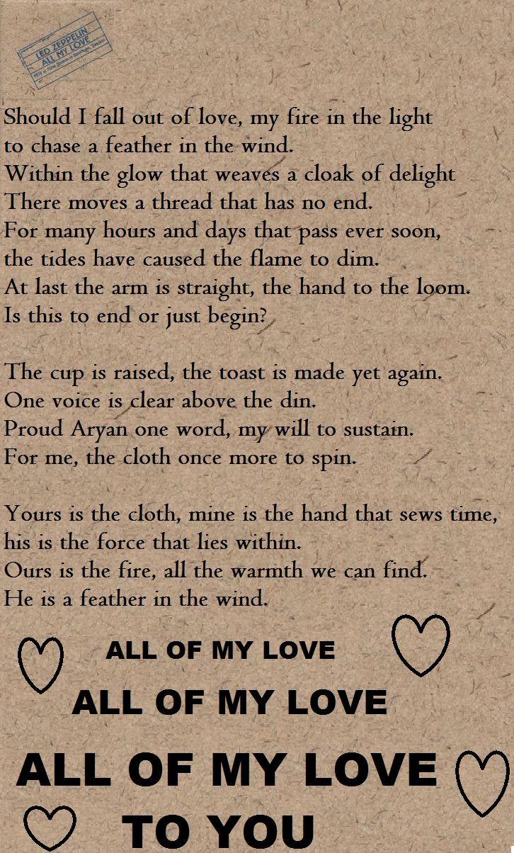 All My Love Led Zeppelin Lyrics