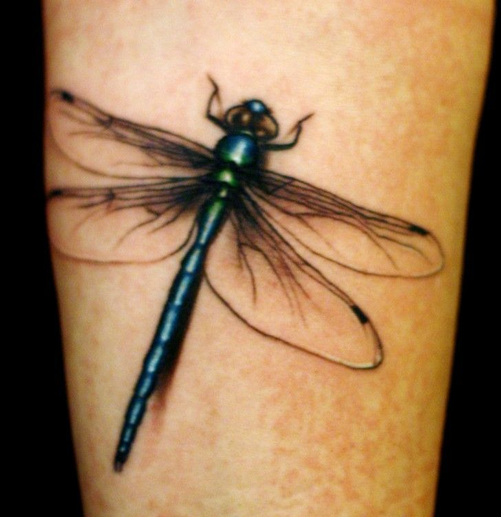 Dragonfly Realistic Tattoo Green