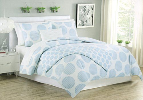 Max Studio 3pc King Duvet Cover Set Large Polka Dot Sky