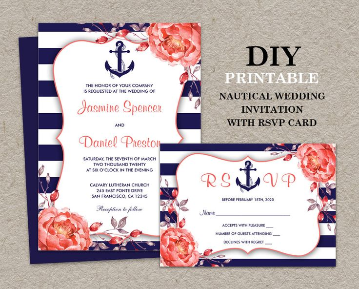 Coral And Burlap Wedding Invitations