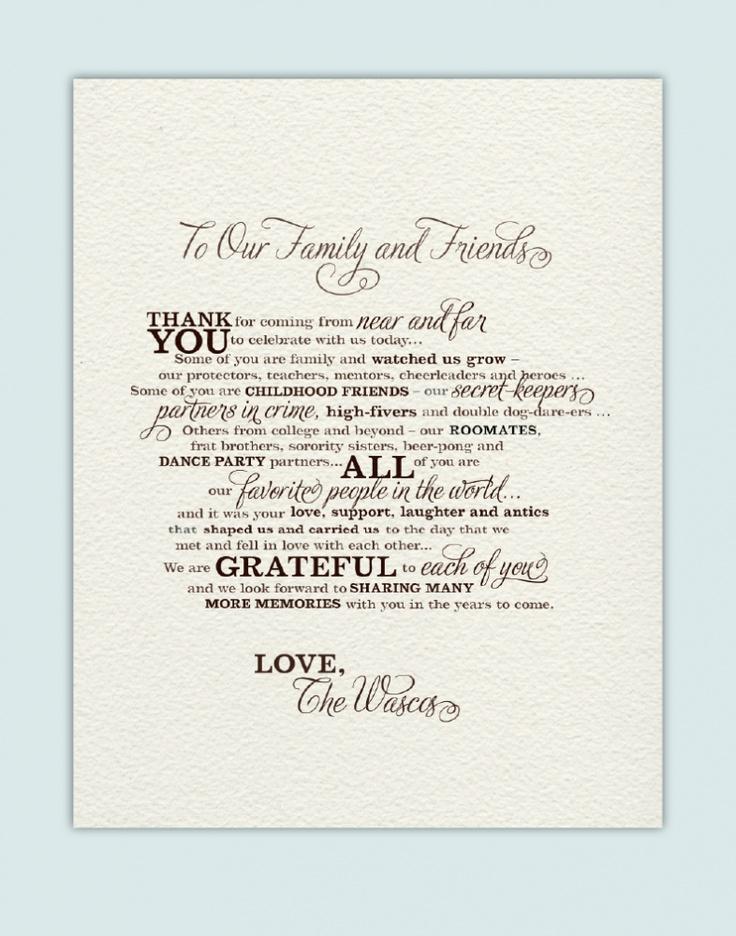 Thank Program You Sayings Wedding