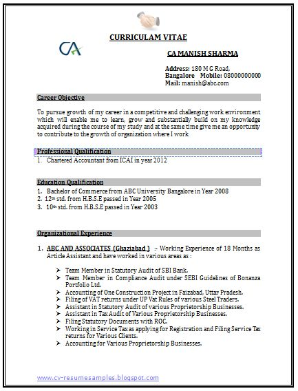 Accountant Cv Format For Fresher