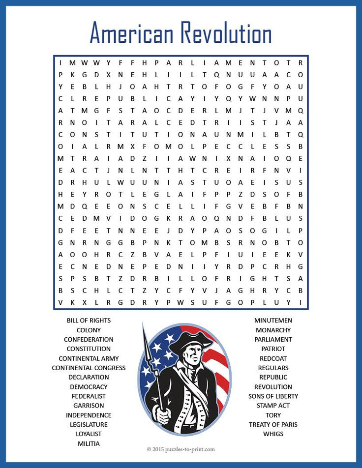 Us History Word Search Printable