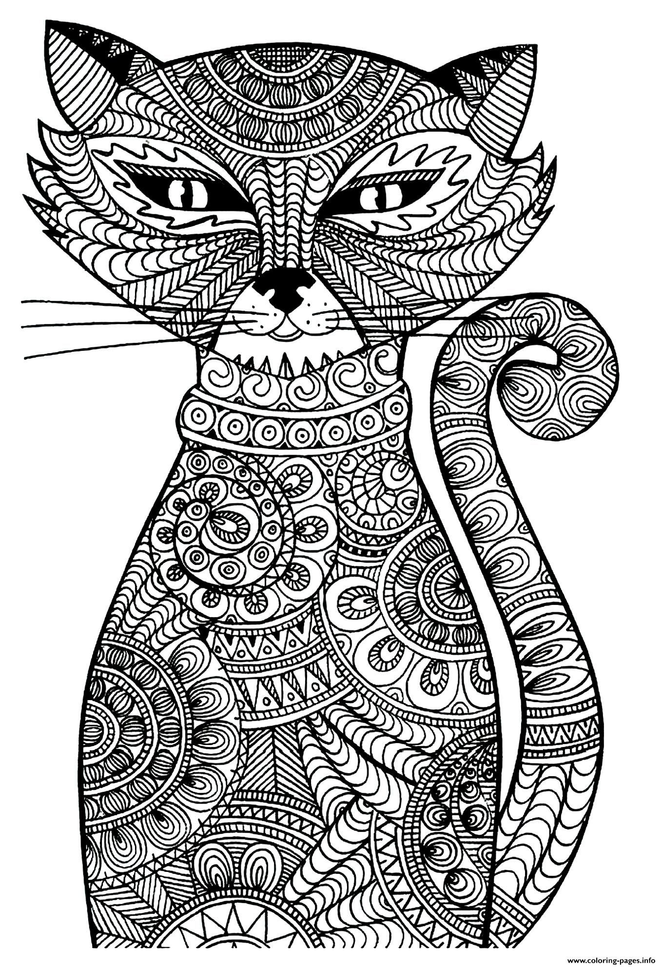 Print Kitten Adult Cat Coloring Pages Coloring Pages Pinterest