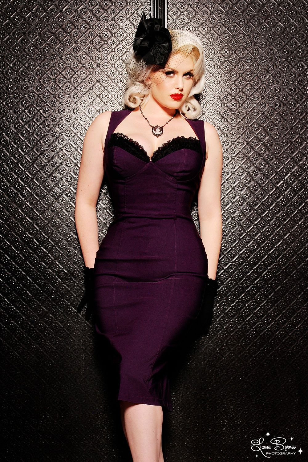 Pinup Couture Masuimi Dress in Plum | Vintage Style Dress ...