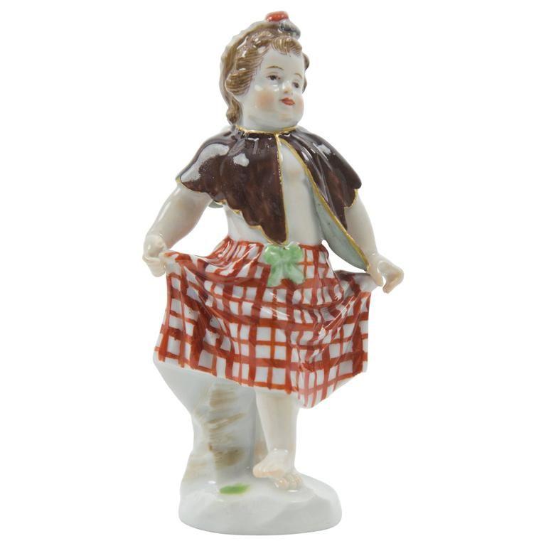 Meissen Figurine of Cherub as Scottish Lass Dancing Dancing