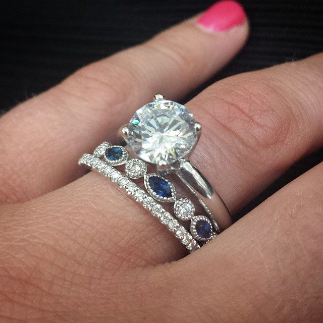 Antique Diamond And Blue Sapphire Wedding Band Looks Amazing Between A Pave Diamond Wedding Band