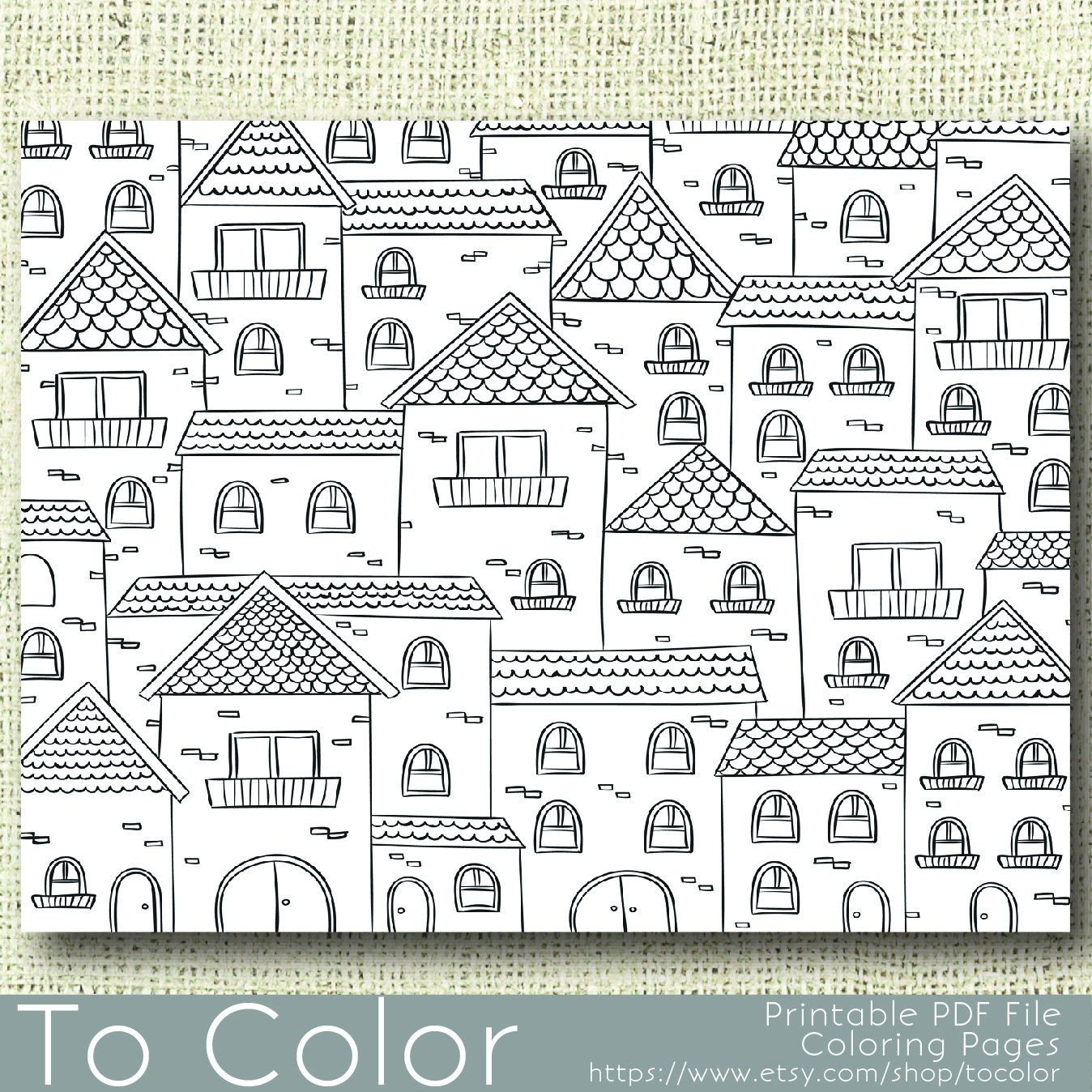 Printable Houses Coloring Page For Adults Pdf Instant