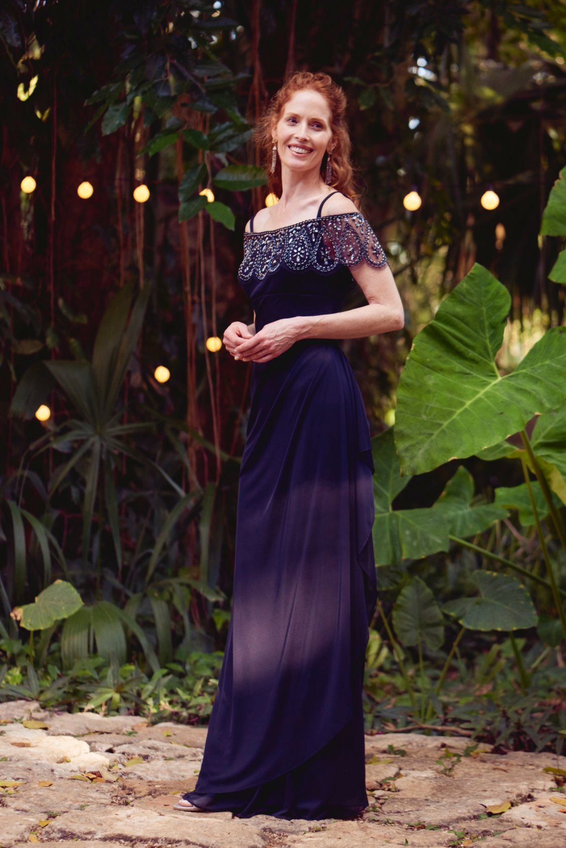 Navy off the shoulder beaded mother of the bride dress by Xscape     Navy off the shoulder beaded mother of the bride dress by Xscape from  David s