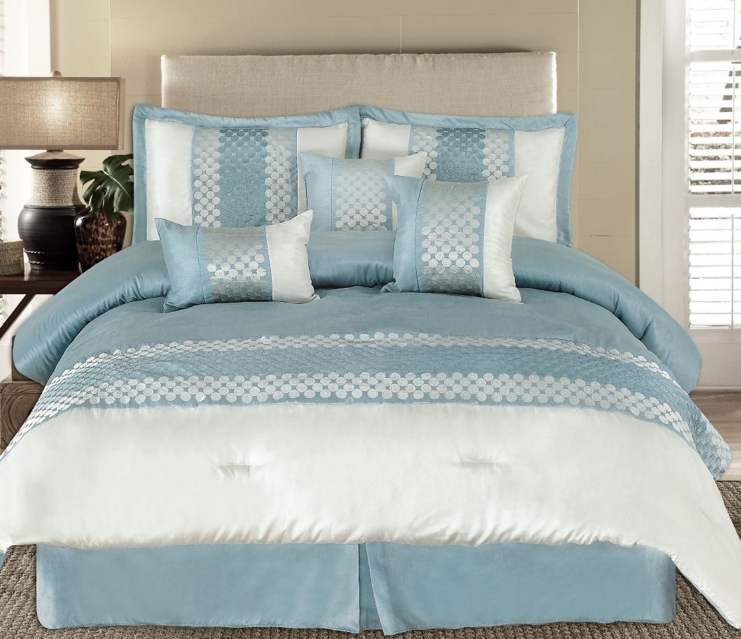 King 7pc Andrea Light Blue Luxury Bedding Set Lyle