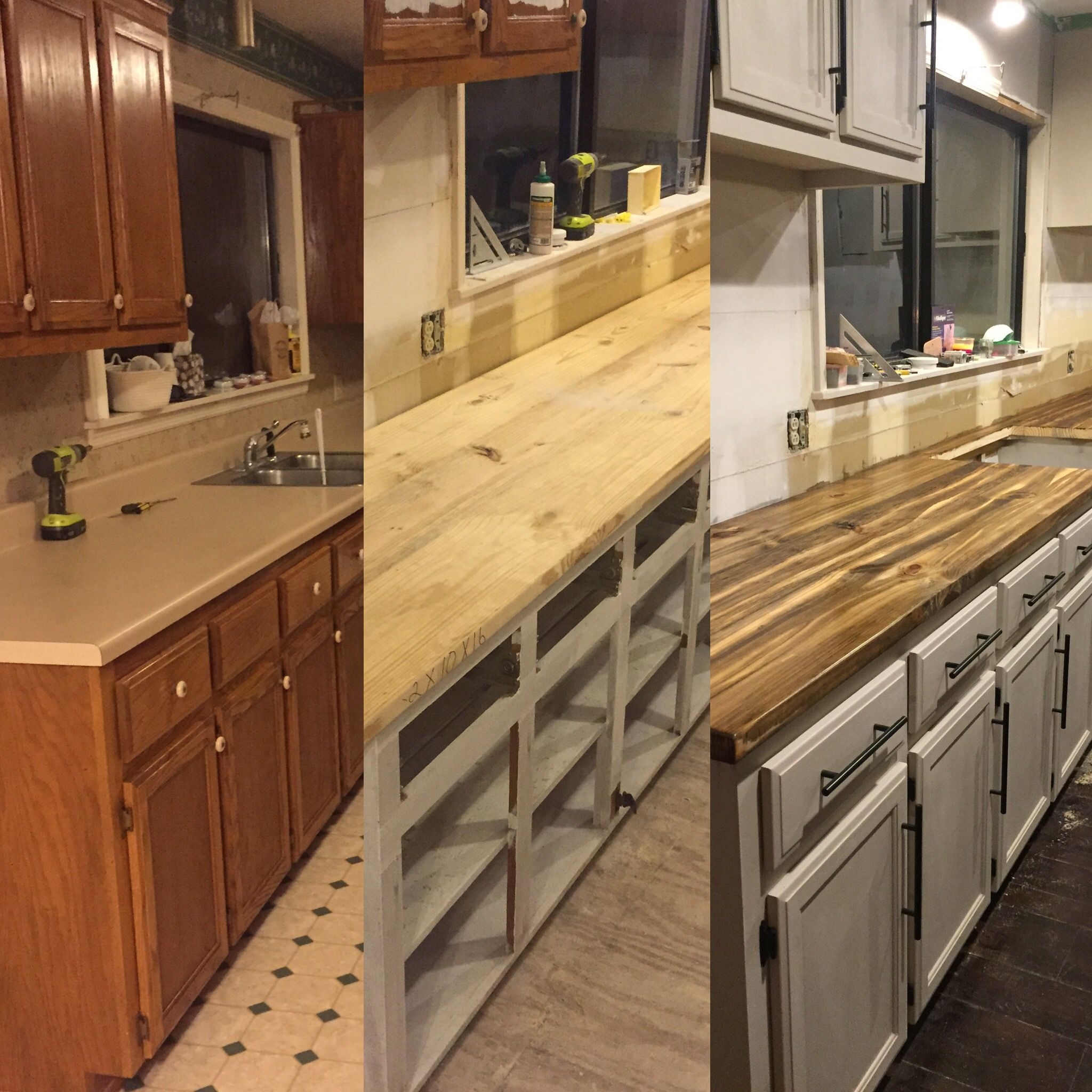 Before Amp After Countertops Diy Cheap This Is 2 X 4 Wood