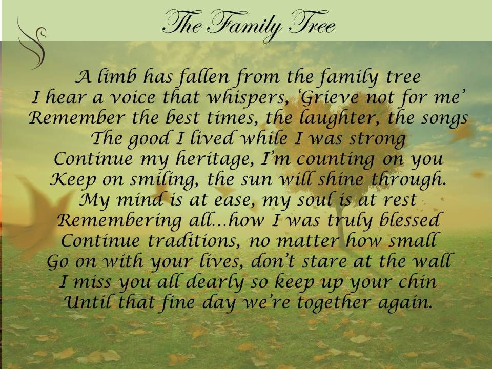Family Tree Funeral Poem | my lush mind | Pinterest ...