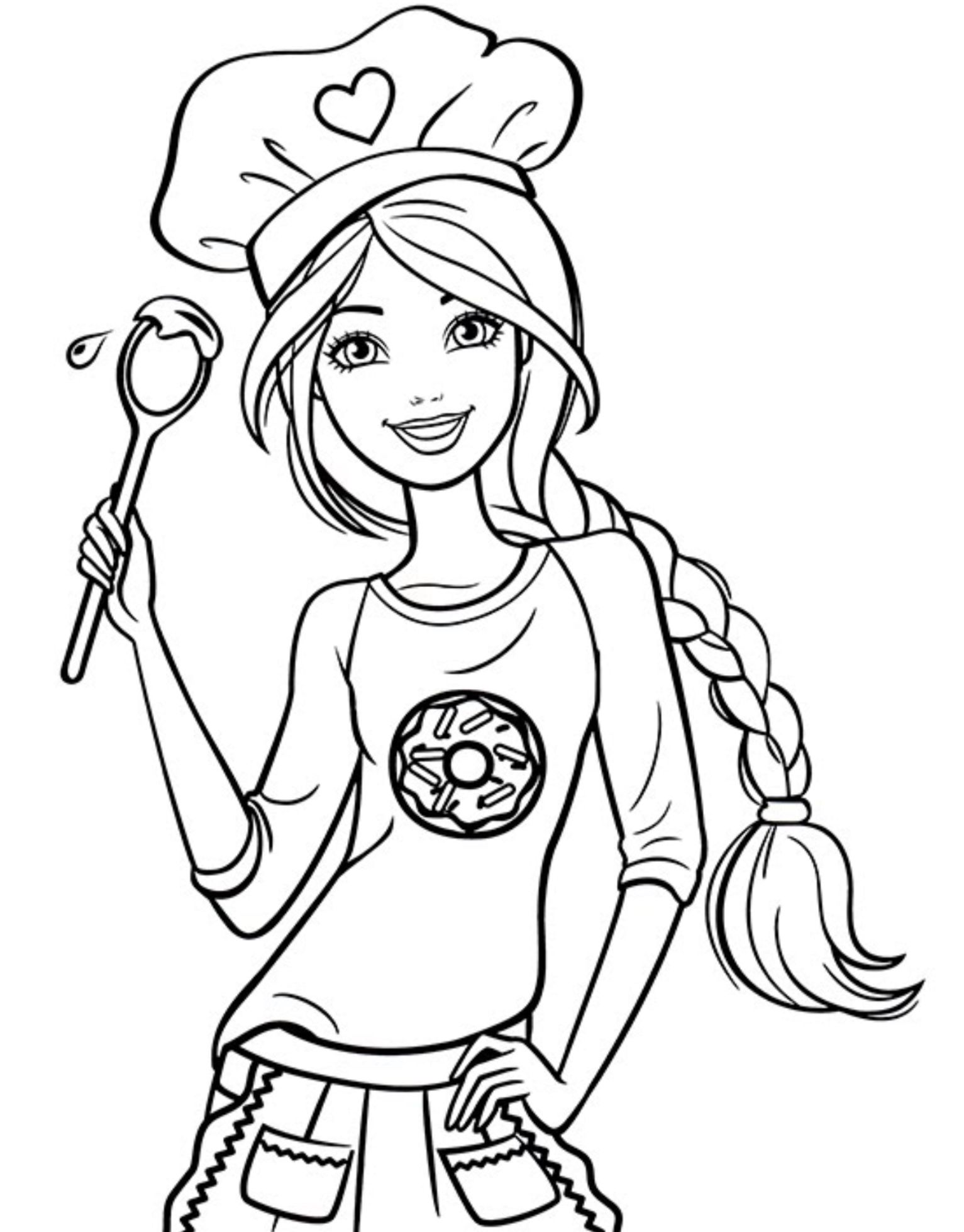 Chef Barbie Coloring Page Coloring Pages Pinterest Barbie