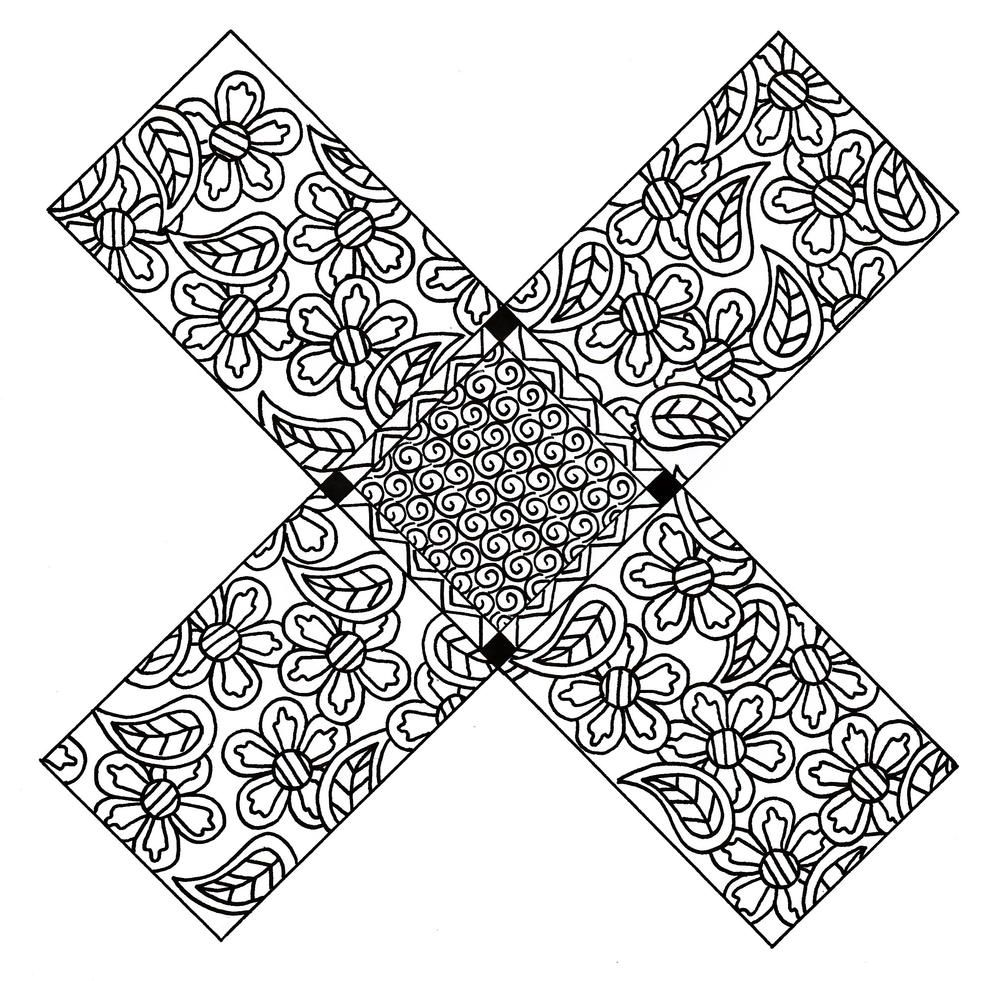 X Marks The Spot Floral Zentangle Coloring Page Adult Coloring