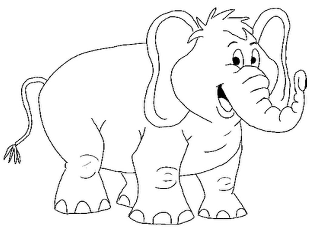 Animal Coloring Pages Smiling Elephant Printable Coloring Pages