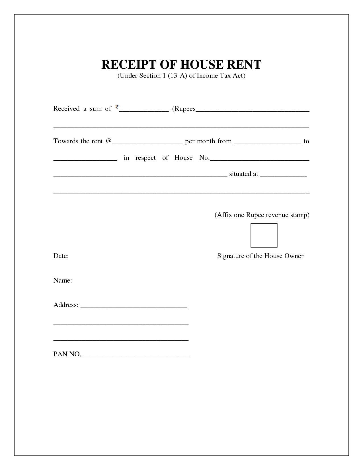 rent receipt template india – House for Rent Template