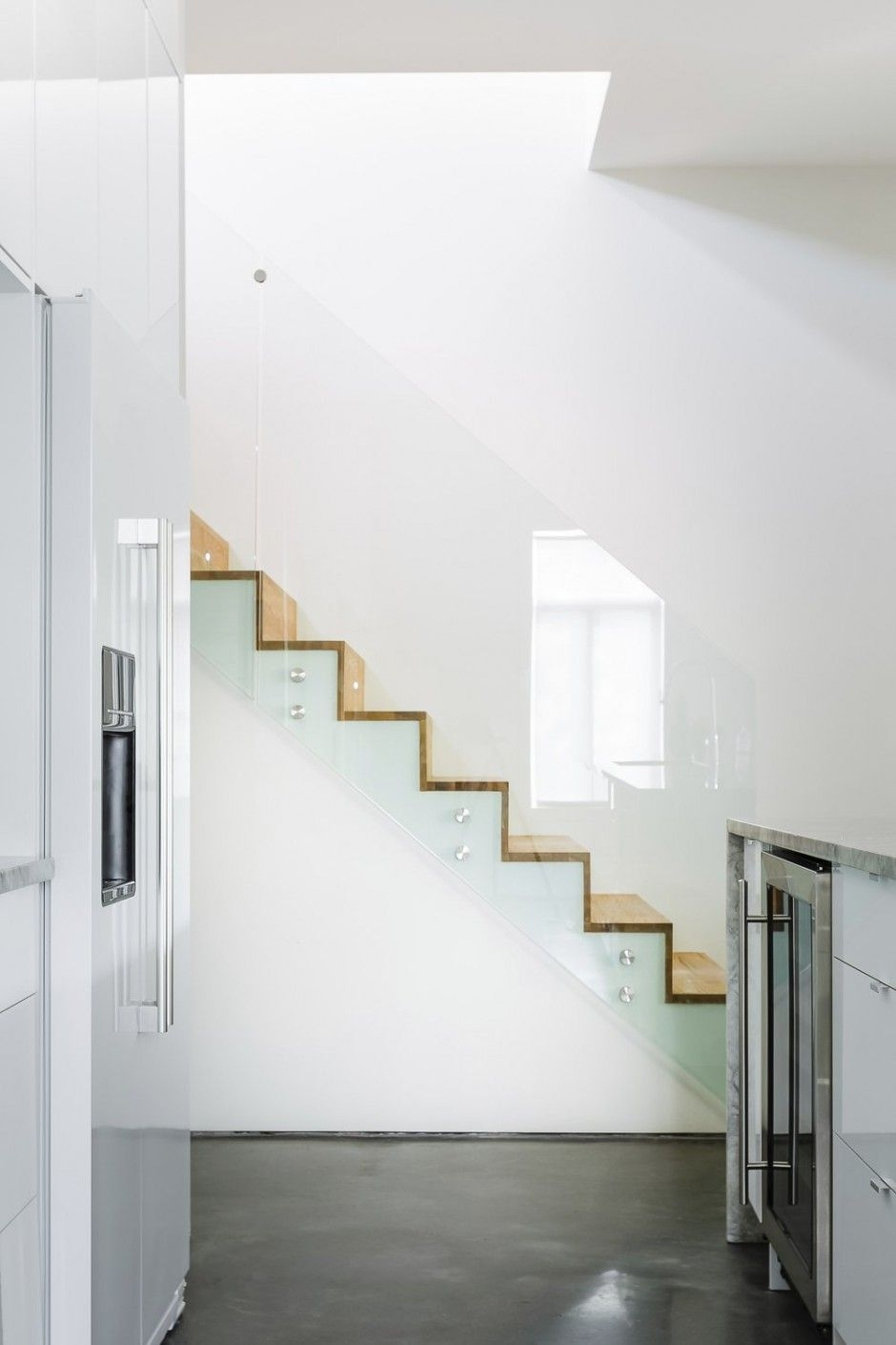 Stairs Glass Rail Wood Plank Floor Visible From The | Stairs With Glass Sides